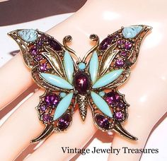 Vintage Hollycraft Purple Turquoise Glass Rhinestone Gold Tone Butterfly Pin #Hollycraft