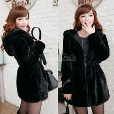 Women Faux Fur Jacket Hood Reversible Winter Quilted Coat Black   Completely lovely and trendy <3 A must-have for cold days