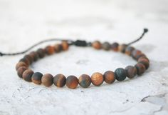 Tiger eye Bracelet, Men Bead Bracelet, Men Good Luck Jewelry, Men Healing Bracelet, Men Zen Bangle, Men Gift, Anniversary, unisex, Matte