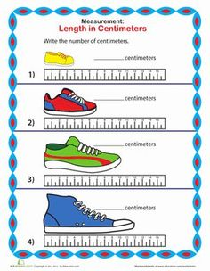 Practice measuring centimeters while you find the length of each shoe.