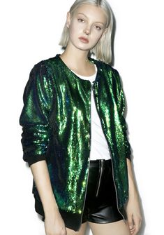 Isolated Heroes Mermaid Bomber Jacket cuz even on land yer the catch of the sea, bb. This fabulous luxe bomber jacket features an allover mermaid green-blue reversible sequins, a collarless design, and oversize fit that'll alwayz give ya dat wet wet look!