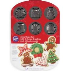 "Wilton 12-Cavity Holiday Cookie Shapes Pan 16.25"" X 11.5"""