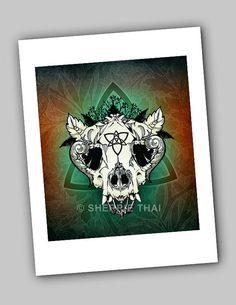Nature Skull, Gothic Surrealism, Dark Fantasy Art Illustration Print, by Sherrie Thai of shaireproductions on Etsy