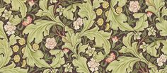 Leicester (212542) - Morris Wallpapers - A large scale1912 design, featuring scrolling acanthus leaves with an underlay of smaller flowers and foliage. Shown in the olive green on dark background colourway.  Please request sample for true colour match.