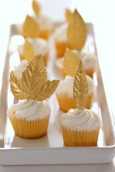 gold leaf cupcake toppers