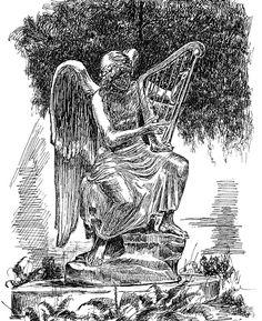 An angel playing harp