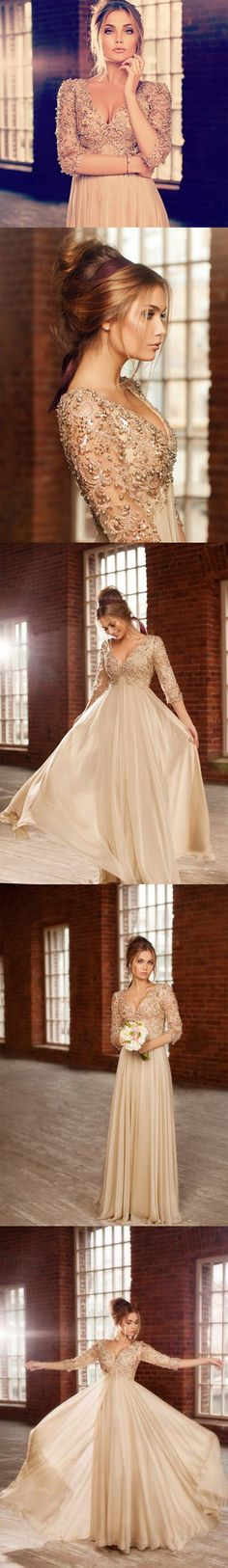 Beautiful Long Prom Dresses 2014 New Arrival Deep V-neck 3/4 Sleeves Beaded A-line Chiffon Evening Dresses
