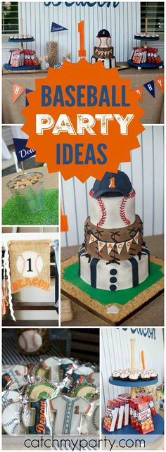 """Baseball / Birthday """"Deacon's Named """"Rookie of the Year""""! A Baseball First Birthday Party"""" Baseball First Birthday, Baby Boy First Birthday, Sports Birthday, Sports Party, 2nd Birthday, Baseball Party, Baseball Cupcakes, Husband Birthday, 1 Year Old Birthday Party"""