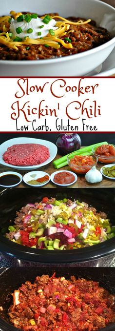 Slow Cooker Kickin Chili - Low Carb, Gluten Free Peace Love And Low Carb Via Peacelovelocarb Ketogenic Recipes, Diet Recipes, Healthy Recipes, Ketogenic Diet, Healthy Food, Ketogenic Chili Recipe, Cake Recipes, Healthy Lasagna, Recipies
