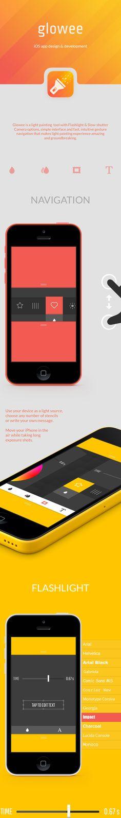Glowee iOS app on Behance Mobile Ui Design, App Ui Design, User Interface Design, Flat Design, Wireframe, Apps, Paint App, Smartphone, Branding