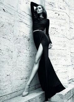 Fitted long sleeved dress with wrap split skirt. MUST HAVE ♥