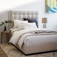 Grid-Tufted Plinth Bed - Oatmeal #westelm