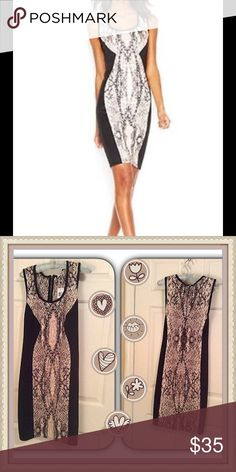 """😍 Sexy Snake Pattern Dress 😍 This NWT dress was bought from Macy's. It is  made of a wonderfully soft and stretchy fabric of polyester and spandex. The black side inserts have a fabulous slimming effect. From shoulder seam to hem is 40"""". The main fabric incorporates gray, black, white and peach to form the beautiful snakeskin pattern. Bar III Dresses"""