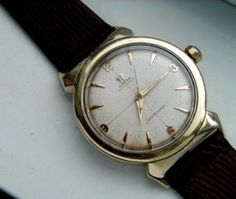 """Great """"bullhorn"""" lugs on this 1954 Omega Seamaster."""