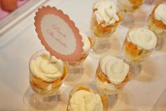 peach shortcake served in plastic wine glasses. Would also be pretty for any kind of mousse or parfaits too.