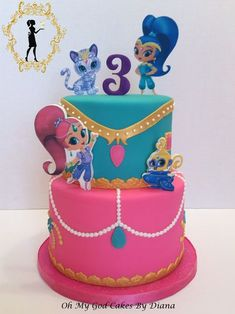 Back to: shimmer and shine birthday cake 80 Birthday Cake, 4th Birthday Parties, Birthday Ideas, Cupcakes Princesas, Shimmer And Shine Cake, Friends Cake, Cake Gallery, Girl Cakes, Party Cakes