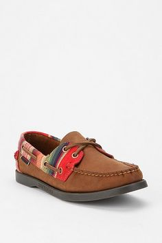 Leather and Fabric Boat Shoe