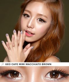 Inspired by the creative designs of latte art, GEO Cafe Mimi circle lens feature sumptuous shades of chocolate, brown and beige. These contacts give a luxurious, glossy effect and naturally enlarge the iris. Brown Contact Lenses, Cosmetic Contact Lenses, Prescription Colored Contacts, Eyeliner Styles, Circle Lenses, Color Lenses, Korean Makeup, Eye Color, Geo