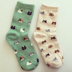 Cat Face Socks Kitty Print Socks Animal Print by kindersticker