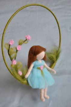 Special Item Nursery Mobile needle felted : Girl and por MagicWool Mobiles, Needle Felting, Wet Felting, Hedgehog Craft, Toddler Flower Girl Dresses, Diy Cadeau, Felt Wreath, Felt Mobile, Diy For Kids