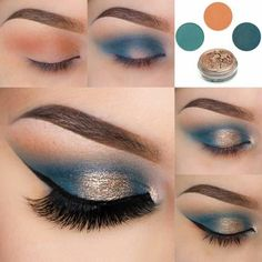 ▷ ideas and inspirations on how to make up your eyes .- ▷ 1001 + Ideen und Inspirationen, wie Sie Ihre Augen schminken eye make-up manual-make-up-by-brown-eyes eyeshadow-in-blue-and-gold-festive make-up - Makeup Geek, Makeup Inspo, Eyeshadow Makeup, Makeup Inspiration, Hair Makeup, Easy Eyeshadow, Teal Makeup, Makeup Remover, Makeup Brushes