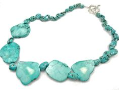 Turquoise semi-precious stone necklace, silver clasp, turquoise necklace, turquoise stone necklace, raw stone, natural stone necklace #etsy  #gifts