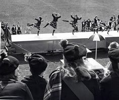 Highland dancers compete in the 1968 Highland Festival and Games. Alma college - USA.