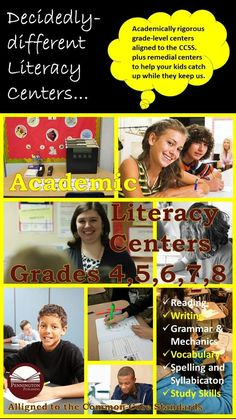 These six Academic Literacy Centers have been designed to minimize or eliminate preparation, correction, behavioral problems, and clean-up time and to maximize flexible, on-task learning: Reading, Writing, Grammar and Mechanics, Vocabulary, Spelling and Study Skills.