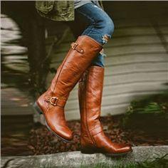 Shoespie Rivet Flat Knee High Boots