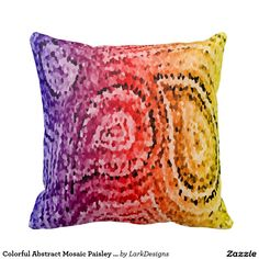 Colorful Abstract Mosaic Paisley Pattern Pillow