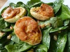 Caramelized Deviled Eggs With Shrimp & Spinach Gribiche