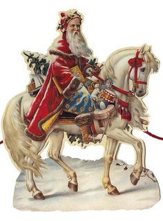Santa on horse Christmas paper garland from England