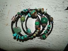Turquoise and Malachite memory wire necklace  sandra@nouveauvintagejewelry.com www.facebook.com/NVJewerly