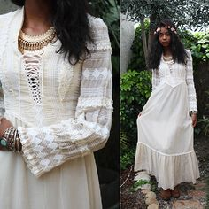 Vintage 70s Boho Hippie Prairie Wedding Maxi Dress