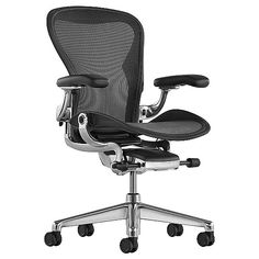 Herman Miller Aeron Office Chair - Size C, Graphite - - Herman Miller Authorized Retailer - Style: Mid-Century Modern Best Office Chair, Home Office Chairs, Office Furniture, Office Desk, Gothic Furniture, Modern Furniture, Furniture Design, Graphite, Industrial Office Chairs
