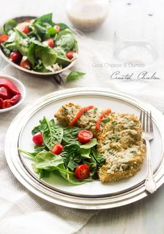 Quinoa and Goat Cheese Crusted Chicken. Cooked quinoa, goat cheese, Italian herbs, garlic and quinoa flour make up the coating for this chicke. Chicken Recipes For Kids, Paleo Chicken Recipes, Cooking Recipes, Healthy Recipes, Duck Recipes, Meatless Recipes, Chicken Meals, Healthy Foods, Free Recipes