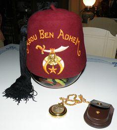 Vintage jeweled fez Abou Ben Adhem w/ tassel Masonic lodge PLUS Pocket Watch