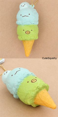 soft ice cream sponge squishies charm with San-X characters, dessert, NIC, cute blue and green Sumikkogurashi ice cream squishy with shy lizard and penguin. Squishy Store, Homemade Squishies, Balle Anti Stress, Cute Keychain, Keychains, Cute Squishies, Slime And Squishy, Best Friend Drawings, Diy Crafts For Teens