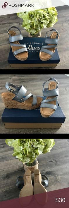 Bass-Grace SP16 Wedge Sandals 6.5M - Denim Bass Wedge Sandals in Denim Size 6.5M Cushion Step New with Box Bass Shoes Sandals