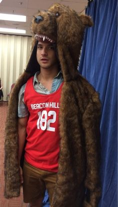 Tyler Posey wearing the flesh of a defeated enemy.