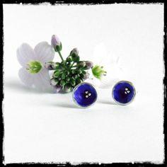 Puces d'oreilles en argent massif et émaux bleu ronde puces romantiques - silver sterling eartuds blue enamel studs