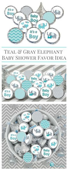Teal Blue and Gray Elephant Baby Shower Favor Boy Stickers for Hershey Kisses in 9 different designs.
