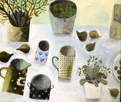 Love, love, love!!!    Este MacLeod, work for Singapore affordable art fair, green figs and little plant.