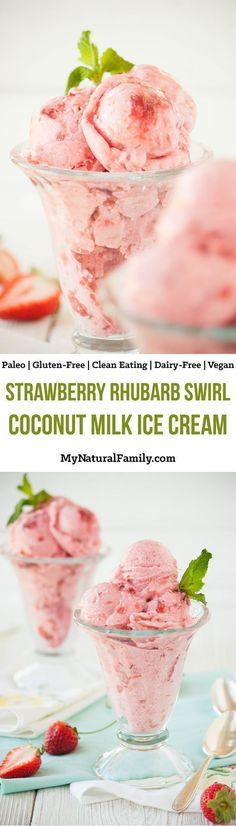 This Strawberry Rhubarb Swirl Coconut Milk Ice Cream Recipe only has 5 ingredients and I love that I can make it in a blender. (For Vegan substitute the honey with a Vegan sweetener) Brownie Desserts, Oreo Dessert, Mini Desserts, Frozen Desserts, Frozen Treats, Paleo Ice Cream, Milk Ice Cream, Ice Cream Recipes, Dairy Free Recipes
