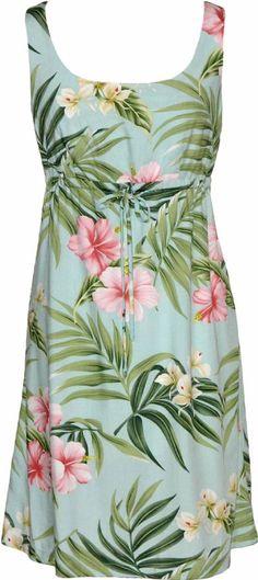 Pink Hibiscus - Ladies Aloha Tie Front Dress - Aqua  http://www.paradiseclothingco.com/proddetail.asp?prod=W113O-DS-Aqua