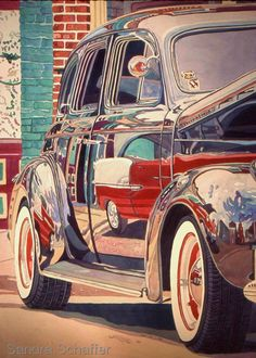 """Painting : """"Bel air Reflections Series (Original art by Watercolors by Sandra Schaffer, WHS, TWSA, NWS) Guache, Car Drawings, Photorealism, Automotive Art, Car Painting, Watercolor Paintings, Watercolors, Art Studies, Mail Art"""