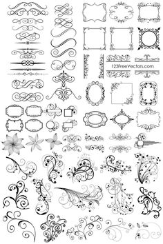 "Flourish clipart for stencil How to make stencil (""How to make"" wording here for searching only Clip Art Vintage, Images Vintage, Vintage Frames, Vintage Pictures, Leaves Illustration, Illustration Vector, Clipart, Watercolor Free, Frame Border Design"