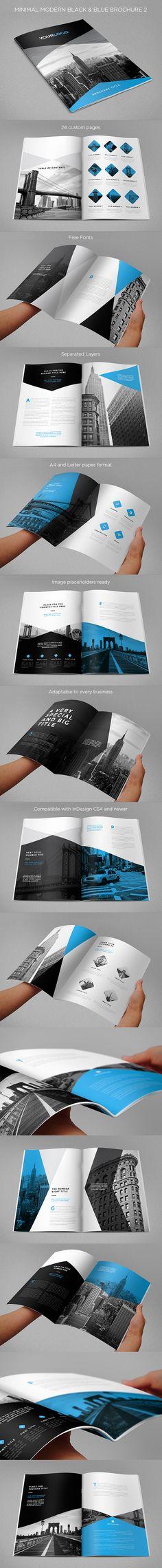 Minimal Modern Black & Blue Brochure 2. Download here: http://graphicriver.net/item/minimal-modern-black-blue-brochure-2/13640559?ref=abradesign