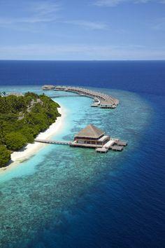 Hôtel Dusit Thani Maldives - L'hospitalité thaïlandaise s'installe aux Maldives… Dusit Thani est ancré dans un luxuriant paysage tropical entouré d'une eau turquoise, de cocotiers et de palmiers. Niché sur l'île de Mudhdhoo dans l'atoll de Baa, la première biosphère UNESCO de l'île, l'hôtel est une excellente escale pour les  passionnés de plongée sous-marine.