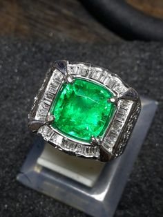 4.2ct Colombian Emerald with Gold Diamond Ring